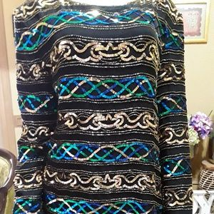 Papell Boutique Beaded Evening Tunic Mini Dress ML